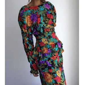 MAGGY LONDON VINTAGE silk floral ruffle dress 12